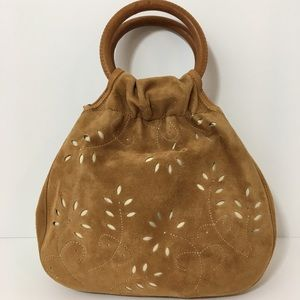 Talbots Laser-cut Suede/Leather Boho Circle Purse